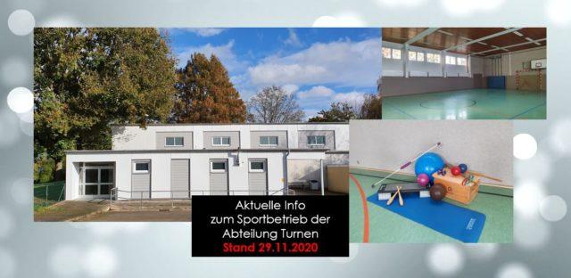 Aktuelle Info der Abteilung Turnen – Stand 29.11.2020