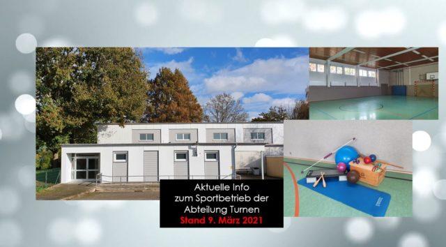 Aktuelle Info der Abteilung Turnen – Stand März 2021