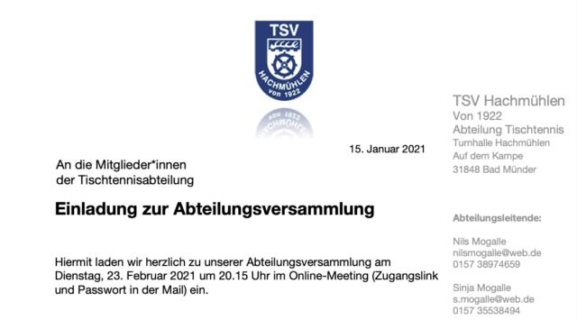 Abteilungsversammlung am 23. Februar 2021